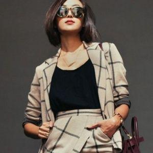 ASOS checked blazer with asymmetrical pencil skirt